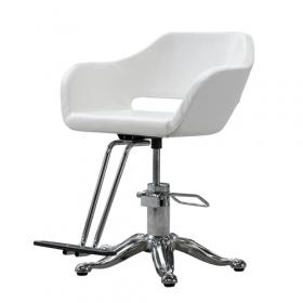 Kappersstoel - Design stoel uitgevoerd in wit PU-leer *OUTLET*
